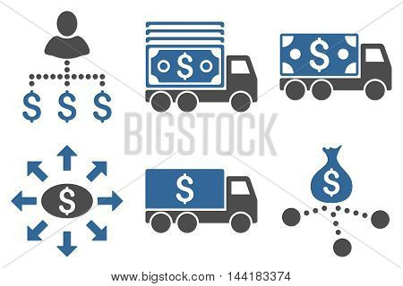 Cash Delivery vector icons. Pictogram style is bicolor cobalt and gray flat icons with rounded angles on a white background.