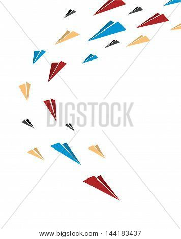 Flying together multicolor origami paper planes. Poster, cover or banner