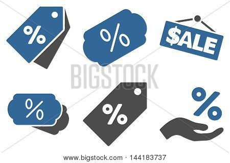 Discount Percent vector icons. Pictogram style is bicolor cobalt and gray flat icons with rounded angles on a white background.