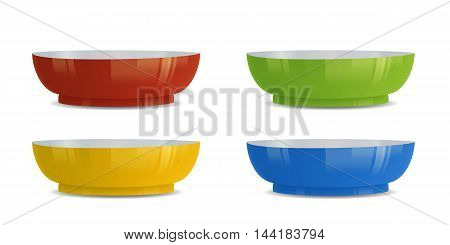 Realistic colorful bowls vector illustration. Isolated on white.