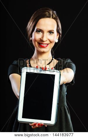 Woman Retro Style Showing Tablet