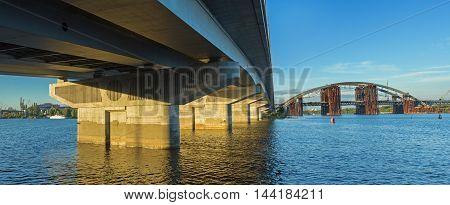 Interesting view on two bridges in Kiev Ukraine