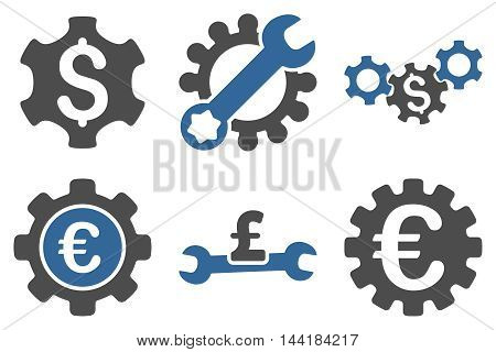 Financial Settings vector icons. Pictogram style is bicolor cobalt and gray flat icons with rounded angles on a white background.