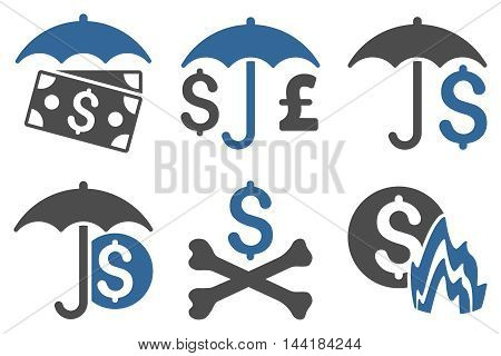 Financial Umbrella vector icons. Pictogram style is bicolor cobalt and gray flat icons with rounded angles on a white background.