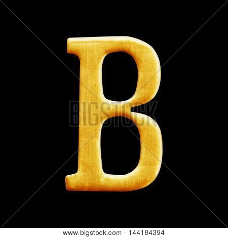 golden letter collection - B isolated on black background
