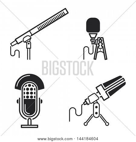 Different microphone types vector icons