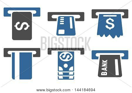 Pay Box vector icons. Pictogram style is bicolor cobalt and gray flat icons with rounded angles on a white background.