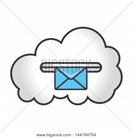 cloud computing and data digital technology mail vector illustration