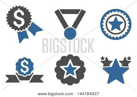 Reward vector icons. Pictogram style is bicolor cobalt and gray flat icons with rounded angles on a white background.