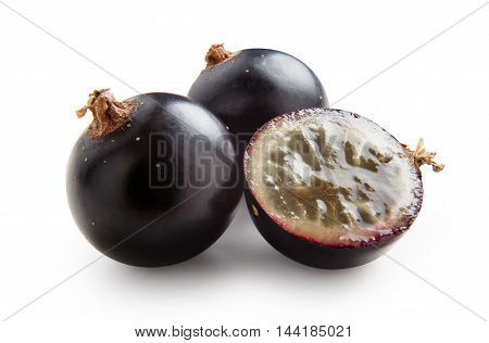 Black currants. Ripe juicy berries of black currant isolated on white background.