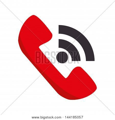 red telephone handset call phone communication vector illustration