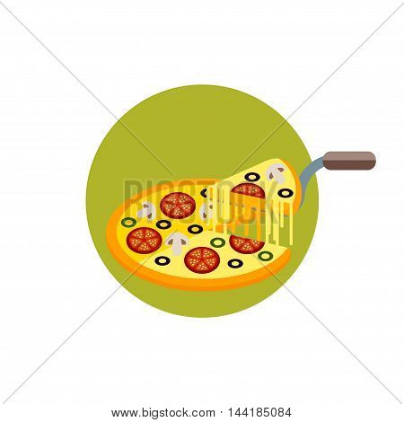 Icon pizza in a flat style. Pizza Icon isolated on a white background. Pizza with a slice in a round frame. Vector illustration.