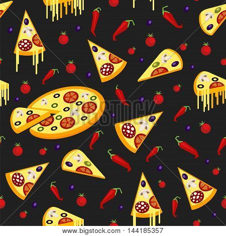 Seamless pattern of pizza chili peppers and tomatoes in a flat style.
