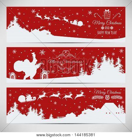 Vector set of three Christmas horizontal banners.