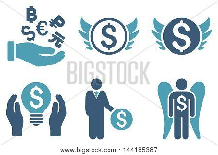 Angel Investor vector icons. Pictogram style is bicolor cyan and blue flat icons with rounded angles on a white background.