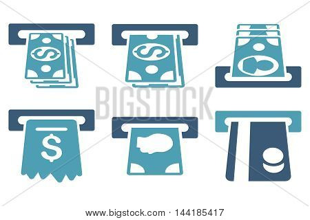 ATM Cashpoint vector icons. Pictogram style is bicolor cyan and blue flat icons with rounded angles on a white background.