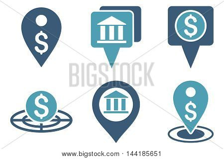 Bank Location vector icons. Pictogram style is bicolor cyan and blue flat icons with rounded angles on a white background.