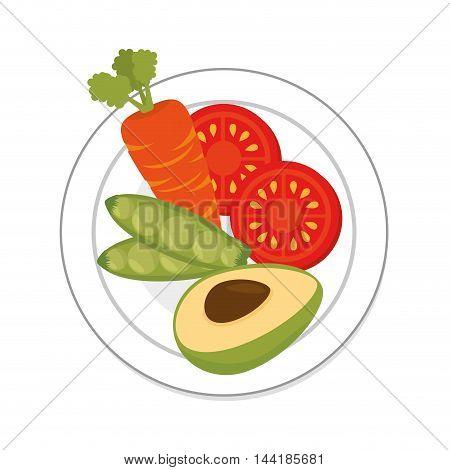 tomato peas avocado and carrot dish vegetables healthy food organic vector illustration