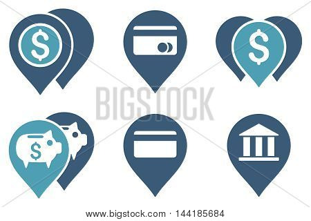 Bank Map Markers vector icons. Pictogram style is bicolor cyan and blue flat icons with rounded angles on a white background.