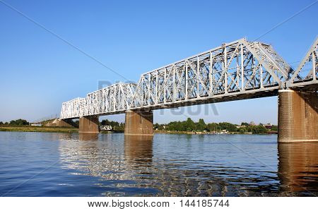 the bridge through the Volga River in Yaroslavl