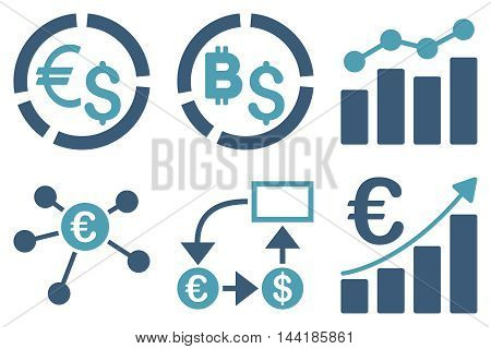 Business Charts vector icons. Pictogram style is bicolor cyan and blue flat icons with rounded angles on a white background.
