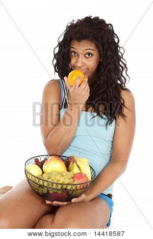 Woman Black Fruit Orange Funny Smile