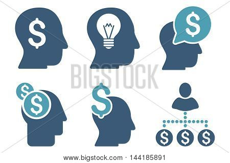 Businessman Idea vector icons. Pictogram style is bicolor cyan and blue flat icons with rounded angles on a white background.