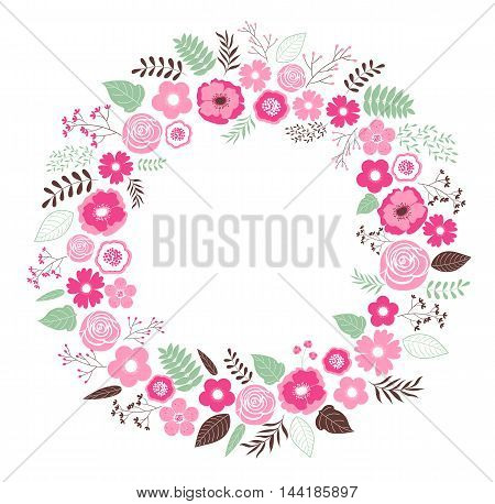 Vector pink wreath with flowers and leaves