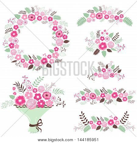 Vector floral set with wreath and bouquets