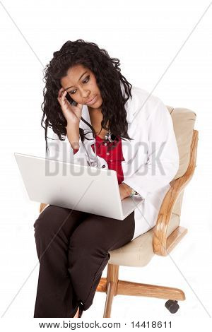 Woman Doctor Sad Laptop