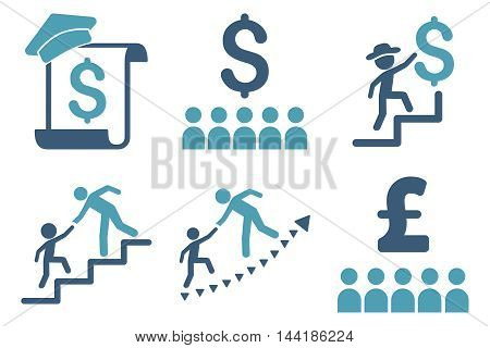 Financial Education vector icons. Pictogram style is bicolor cyan and blue flat icons with rounded angles on a white background.