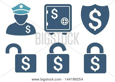 Financial Guard vector icons. Pictogram style is bicolor cyan and blue flat icons with rounded angles on a white background.