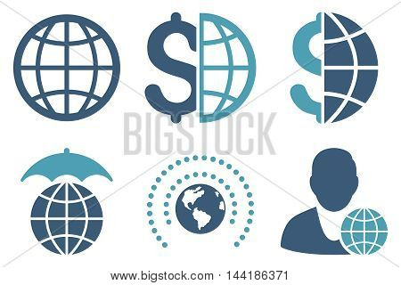 Global Business vector icons. Pictogram style is bicolor cyan and blue flat icons with rounded angles on a white background.