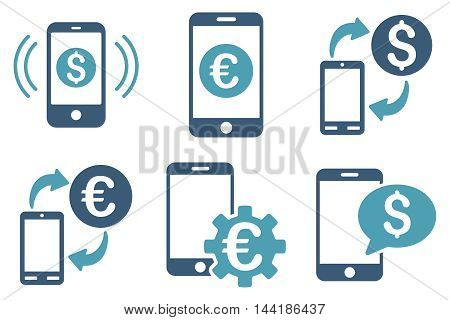 Mobile Banking vector icons. Pictogram style is bicolor cyan and blue flat icons with rounded angles on a white background.