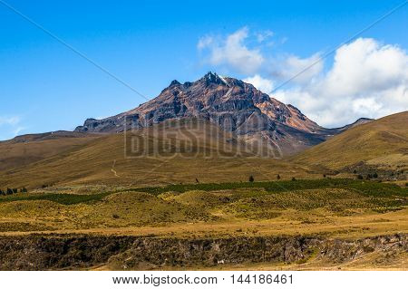 Sincholagua volcano stands behind paramo Cotopaxi National Park