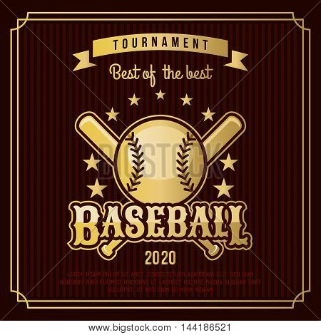 Baseball badge logo emblem tournament in vintage retro style template.