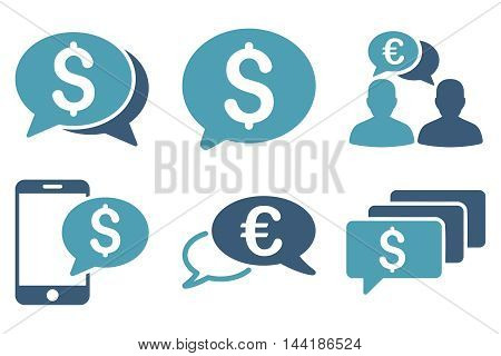 Money Message vector icons. Pictogram style is bicolor cyan and blue flat icons with rounded angles on a white background.