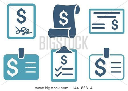 Payment Cheque vector icons. Pictogram style is bicolor cyan and blue flat icons with rounded angles on a white background.