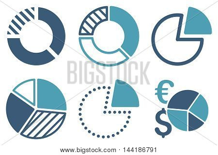 Pie Chart vector icons. Pictogram style is bicolor cyan and blue flat icons with rounded angles on a white background.