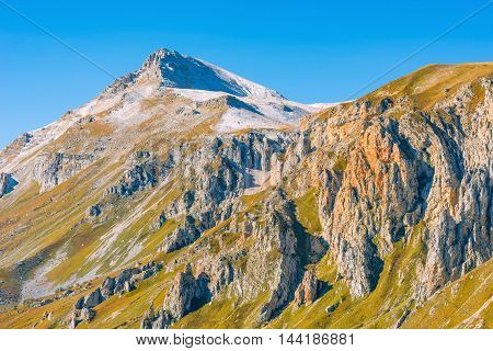 View of the Oshten mountain at day time. Caucasus. Russia.