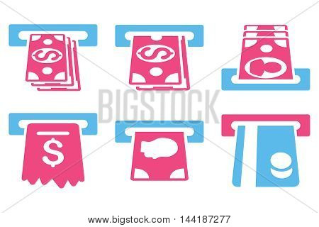 ATM Cashpoint vector icons. Pictogram style is bicolor pink and blue flat icons with rounded angles on a white background.