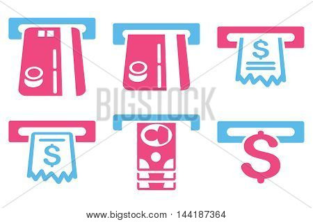 ATM Slot vector icons. Pictogram style is bicolor pink and blue flat icons with rounded angles on a white background.