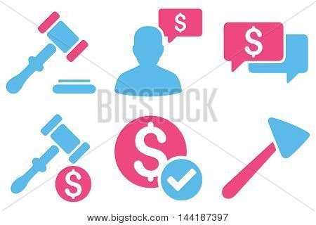 Auction vector icons. Pictogram style is bicolor pink and blue flat icons with rounded angles on a white background.