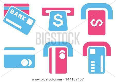 Bank ATM vector icons. Pictogram style is bicolor pink and blue flat icons with rounded angles on a white background.