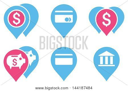 Bank Map Markers vector icons. Pictogram style is bicolor pink and blue flat icons with rounded angles on a white background.
