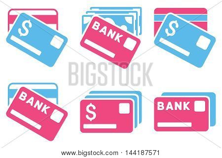 Banking Cards vector icons. Pictogram style is bicolor pink and blue flat icons with rounded angles on a white background.