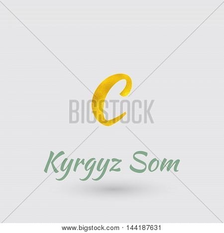 Symbol of the Kyrgyzstan currency with Golden Texture. Vector EPS 10