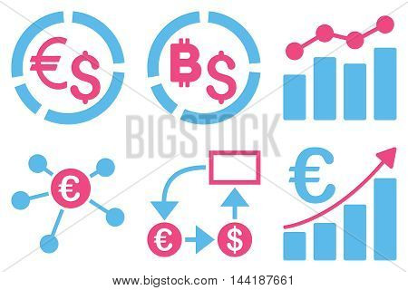 Business Charts vector icons. Pictogram style is bicolor pink and blue flat icons with rounded angles on a white background.