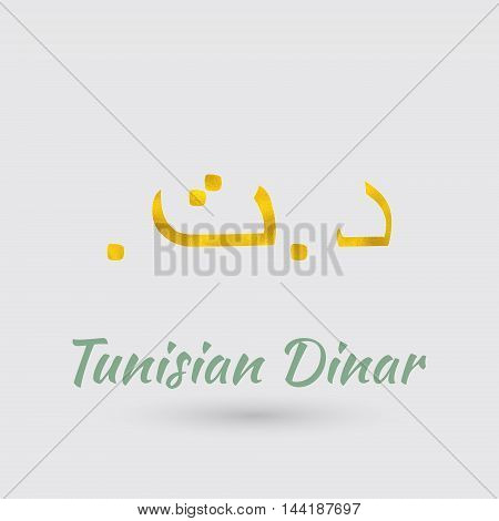 Symbol of the Tunisia Currency with Golden Texture.Vector EPS 10