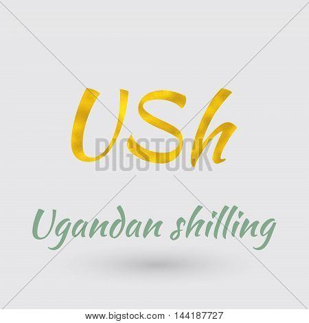 Symbol of the Uganda Currency with Golden Texture.Vector EPS 10